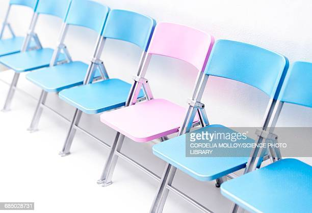 one pink chair in a row of blue chairs - battle of the sexes concept stock illustrations