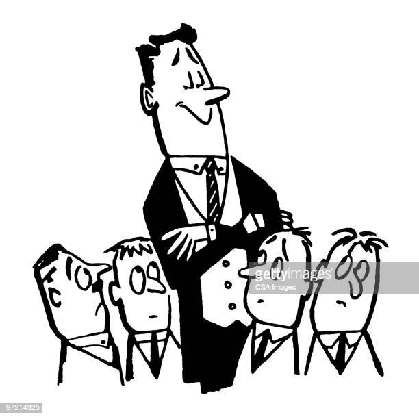one tall man with four short men - tall high stock illustrations