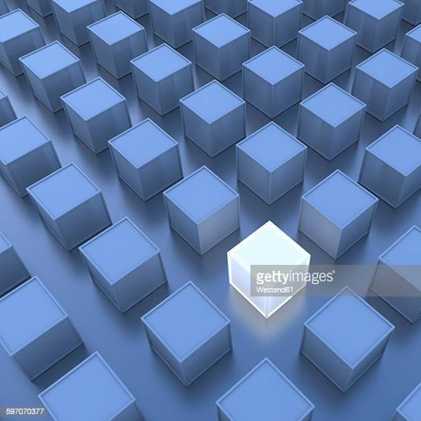 one white cube, blue cubes, 3d-rendering - gegensatz stock-grafiken, -clipart, -cartoons und -symbole