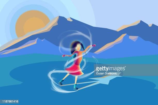 illustrations, cliparts, dessins animés et icônes de une jeune fille patine sur glace. - événement sportif d'hiver