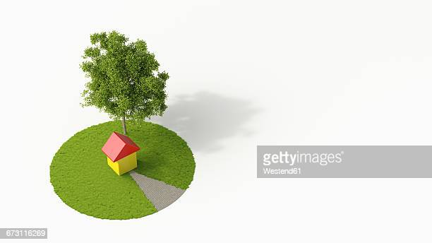 one-family house under a tree, 3d rendering - finance and economy stock illustrations, clip art, cartoons, & icons