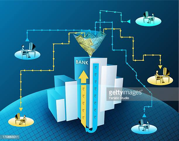 online banking - cash flow stock illustrations, clip art, cartoons, & icons