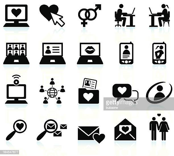Online dating black & white royalty free vector icon set