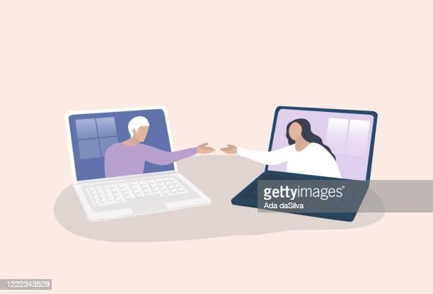 stockillustraties, clipart, cartoons en iconen met online vergadering, conferentie, community, projectbeheer op afstand, werkende afbeelding in quarantaine - digitaal beeld
