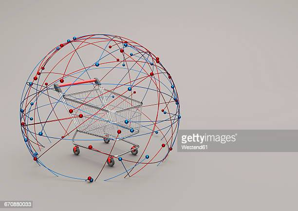 Online Shopping, shopping cart in a sphere of network, 3D Illustration