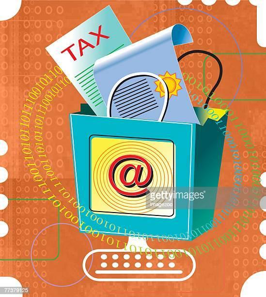 ilustraciones, imágenes clip art, dibujos animados e iconos de stock de online tax forms - impuesto sobre la renta