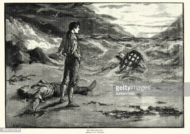 Only survivour of a shipwreck, 19th Century