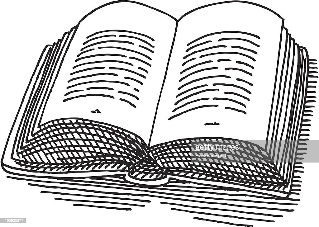 Open Book Drawing stock illustration - Getty Images