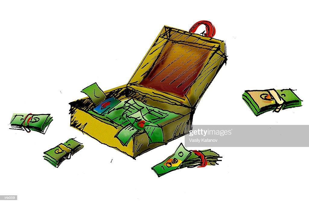 Open Briefcase with Money : ストックイラストレーション