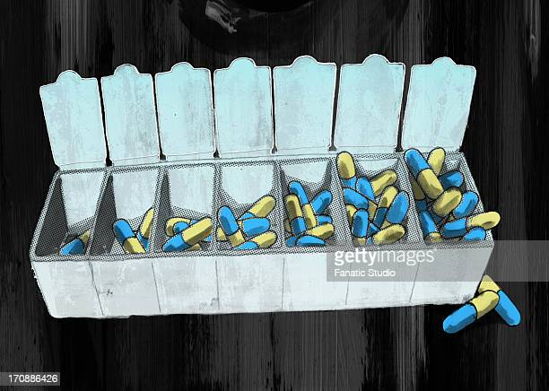 open capsules container over colored background depicting drug addiction - obsessive stock illustrations, clip art, cartoons, & icons