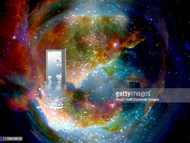 open door to another world in colorful universe - parallel stock illustrations