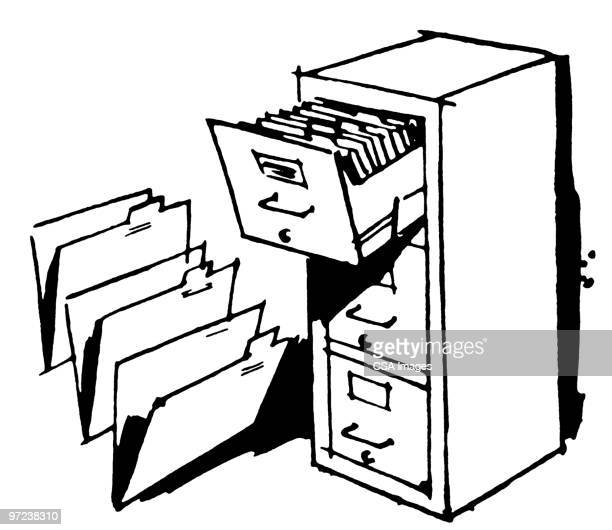 open file drawer - filing cabinet stock illustrations