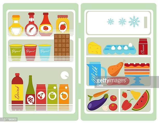 ilustrações, clipart, desenhos animados e ícones de open refrigerator - vegetais