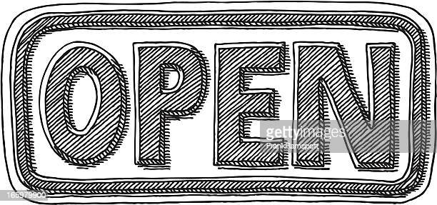 open sign drawing - open sign stock illustrations, clip art, cartoons, & icons