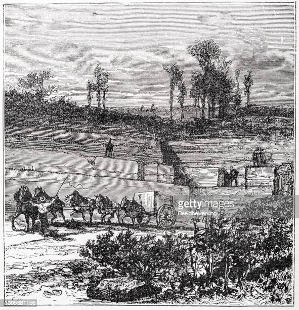 open stone pit quarry with horsedrawn carriage - sandstone stock illustrations, clip art, cartoons, & icons