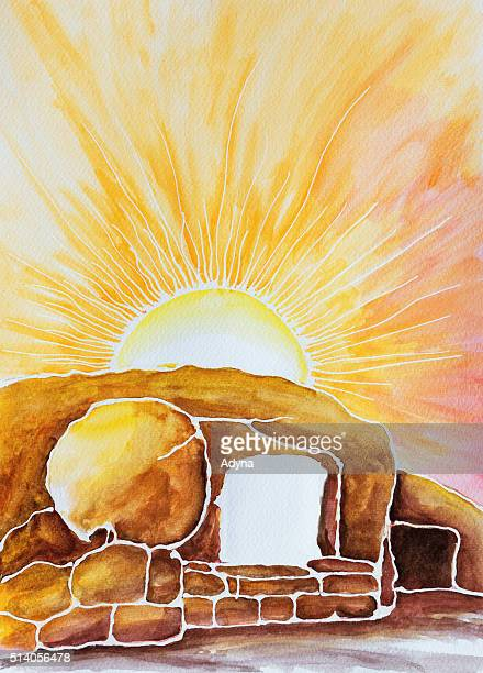open tomb - easter religious stock illustrations
