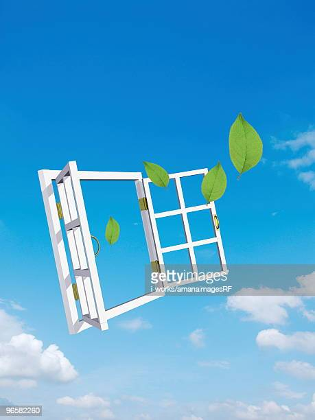 illustrations, cliparts, dessins animés et icônes de open window with leaves coming out - fenetre ouverte