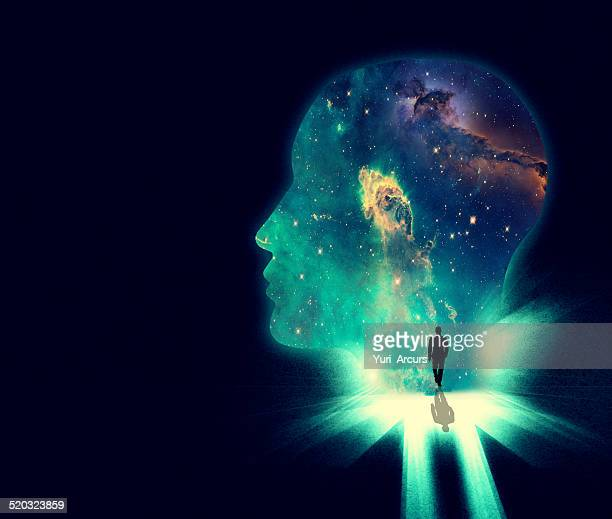 stockillustraties, clipart, cartoons en iconen met open your mind the the wonders of the universe - spirituality