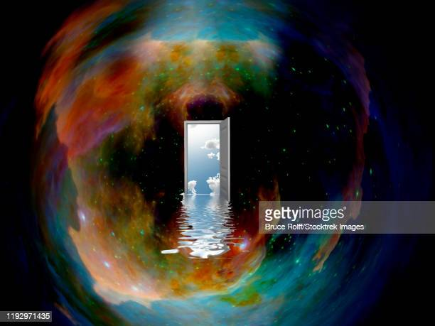 opened door to another world in endless universe. - parallel stock illustrations