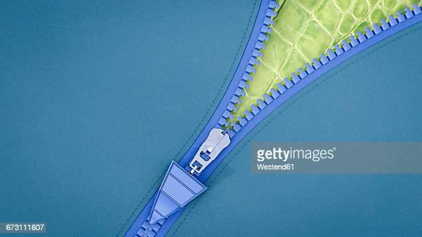 opened zip, 3d rendering - zipper stock illustrations