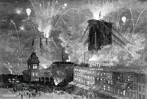 ブルックリン橋開業式(1883年) - 封切り点のイラスト素材/クリップアート素材/マンガ素材/アイコン素材