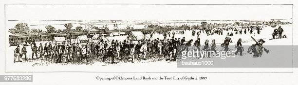 Opening of Oklahoma Land Rush and the Tent City of Guthrie Engraving, 1889