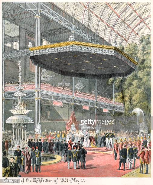 opening of the great exhibition in 1851 - great exhibition stock illustrations, clip art, cartoons, & icons