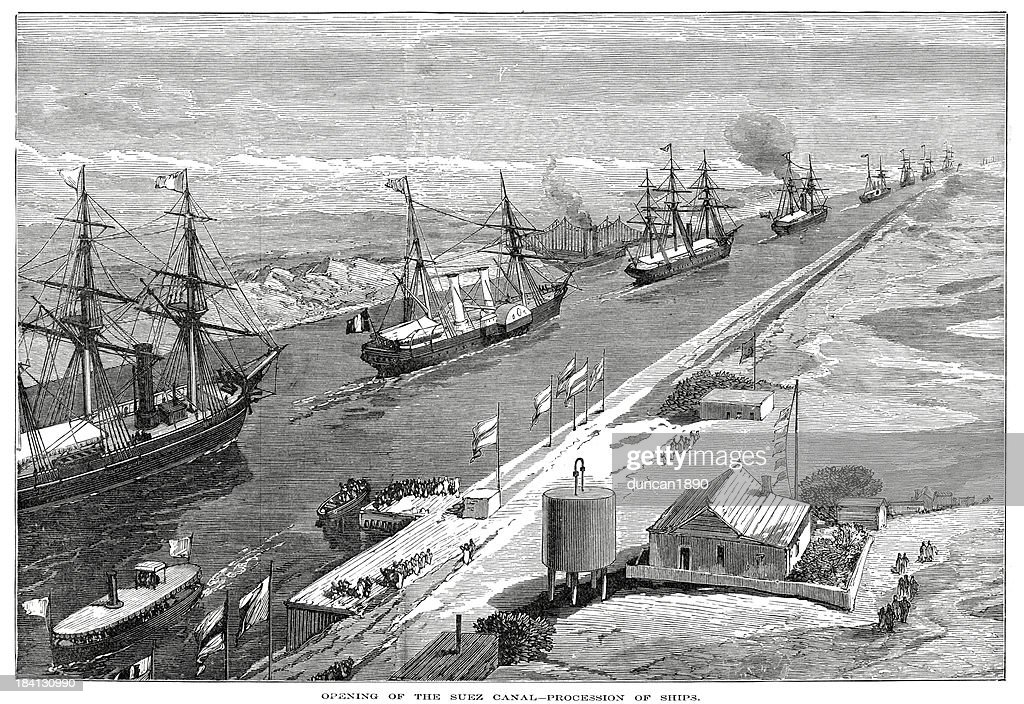 Opening of the Suez Canal : stock illustration