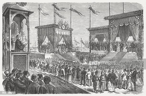 opening of the suez canal on november 17, 1869 - suez canal stock illustrations