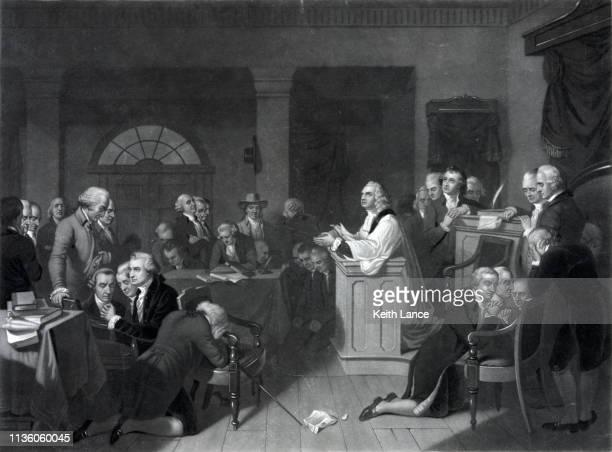 stockillustraties, clipart, cartoons en iconen met openingsgebed van het eerste continentale congres, 1774 september - oprichter