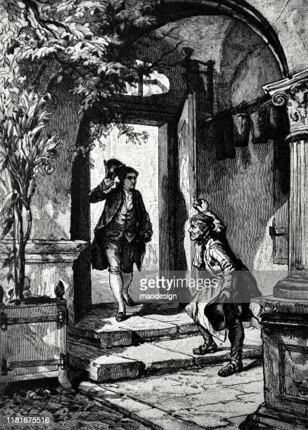 ilustrações, clipart, desenhos animados e ícones de abrindo a porta a um convidado - 1887