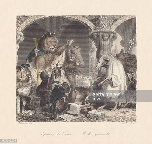 """Opening the Scrip. Scene from """"Reynard the Fox"""", published c.1855"""