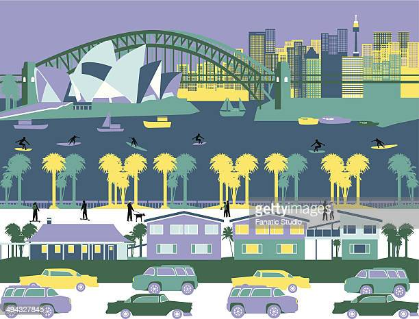 opera house and a bridge in a city, sydney opera house, sydney harbor bridge, sydney, new south wales, australia - sydney opera house stock illustrations