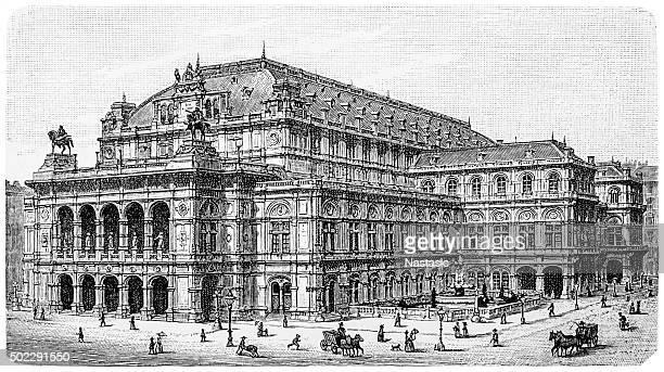 opera theater in vienna - opera stock illustrations