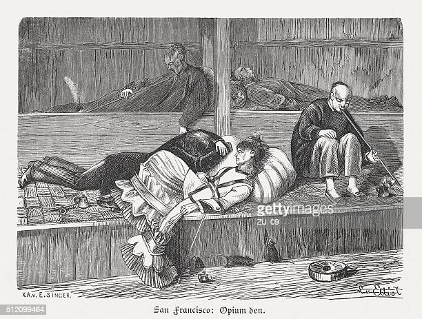 opium den in san francisco, wood engraving, published in 1880 - opium stock illustrations