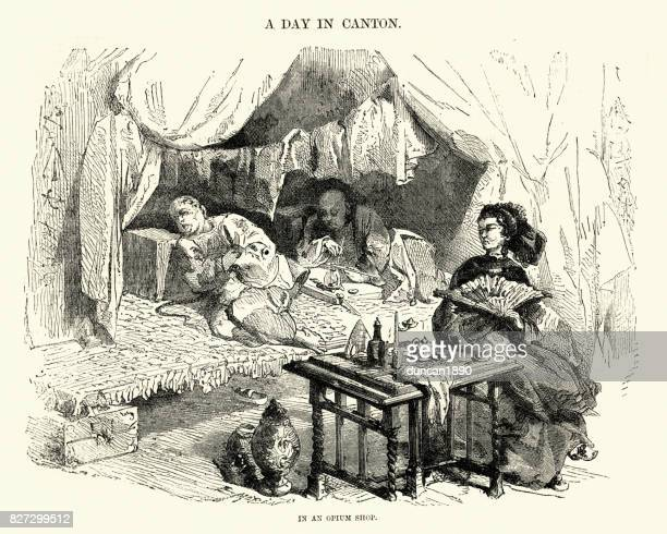illustrazioni stock, clip art, cartoni animati e icone di tendenza di opium shop in canton, china, 19th century - oppio