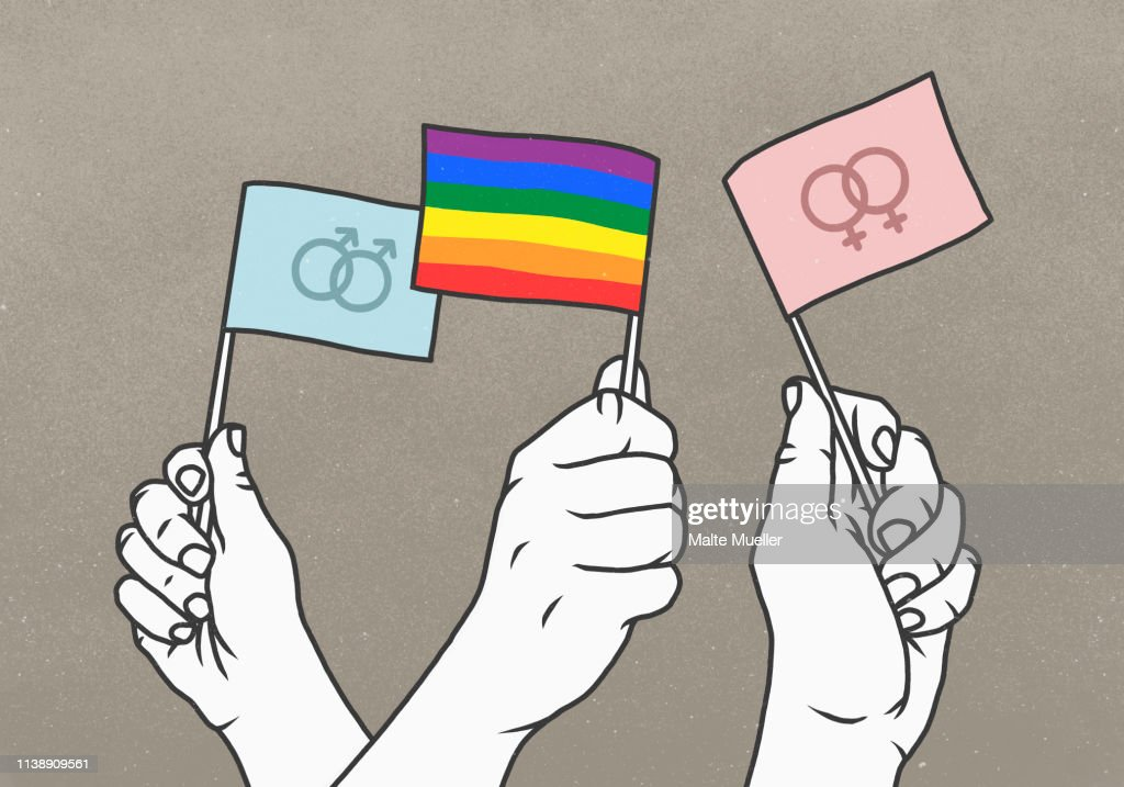 Opposing hands waving rainbow and gender flags : ストックイラストレーション