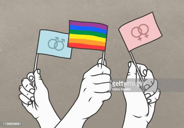 opposing hands waving rainbow and gender flags - three people stock illustrations