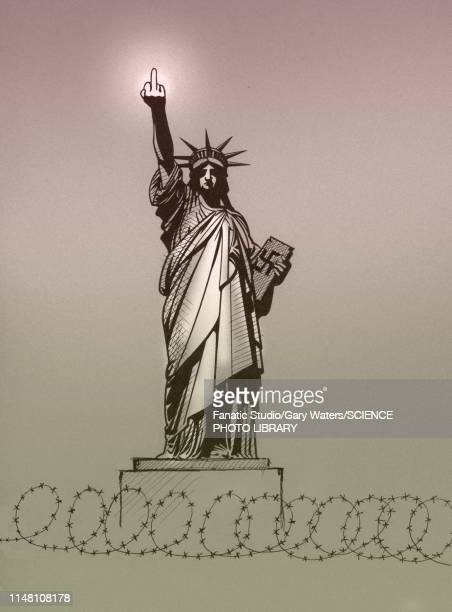 us opposition to immigration, conceptual illustration - statue of liberty stock illustrations