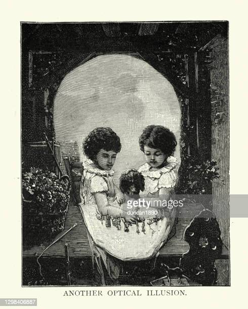 optical illusion, two children and dog, form a skull shape, victorian - optical illusion stock illustrations