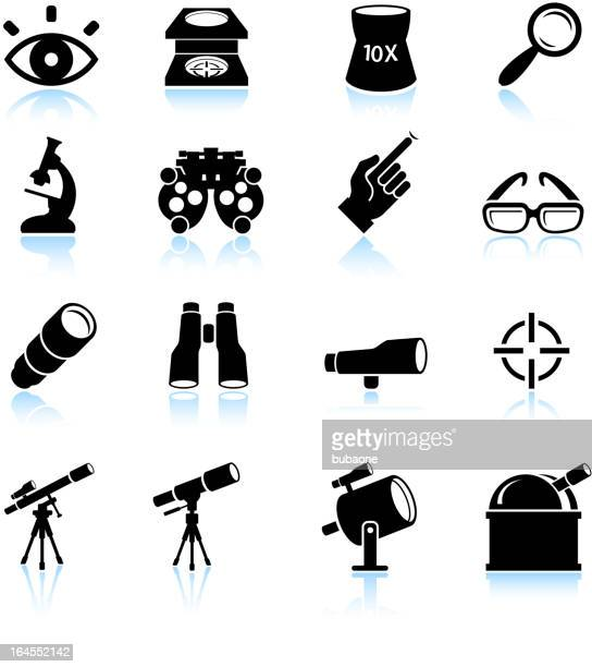 Optical instruments black and white royalty free vector icon set