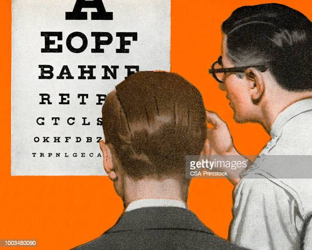 optometrist and patient looking at an eye chart - human back stock illustrations