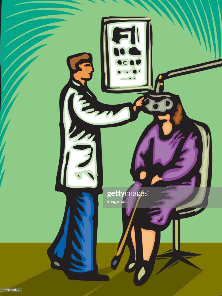 Optometrist checking a woman's eyes : Illustration