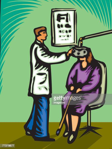 optometrist checking a woman's eyes - glaucoma stock illustrations, clip art, cartoons, & icons