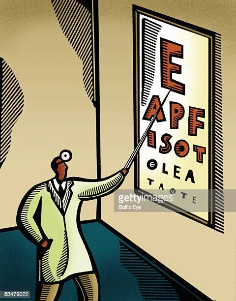 optometrist pointing at an eye chart - glaucoma stock illustrations, clip art, cartoons, & icons