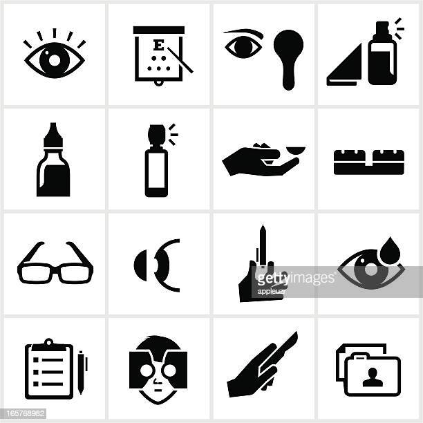 optometry icons - ophthalmology stock illustrations, clip art, cartoons, & icons