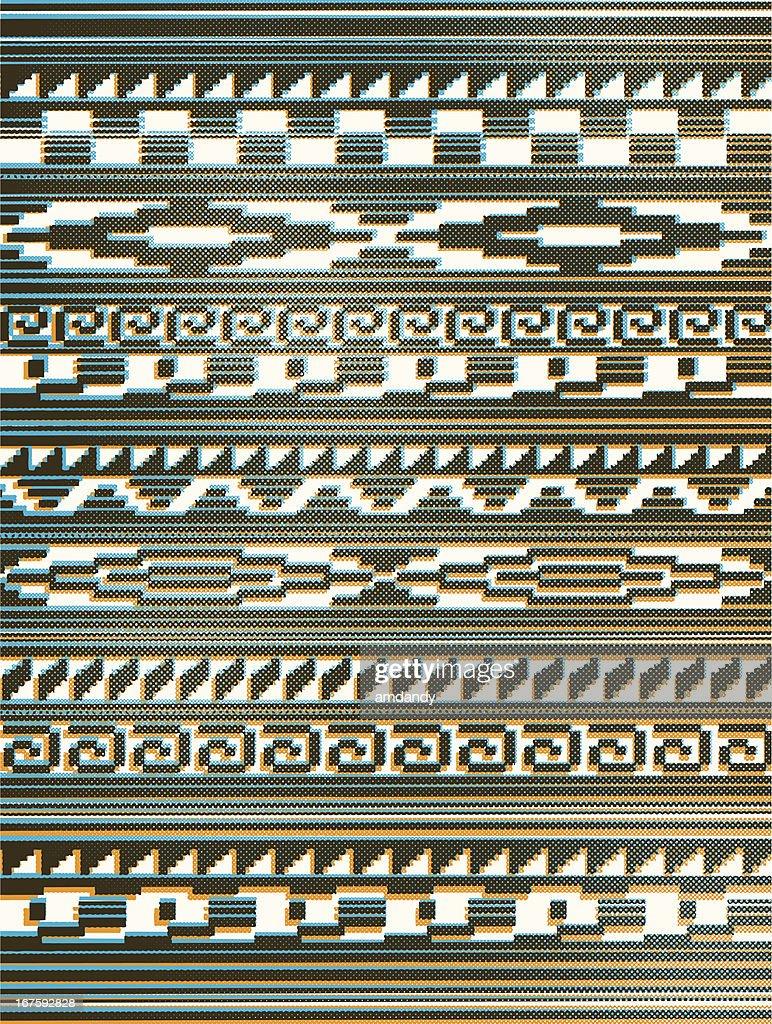 HALFTONE AZTEC PERUVIAN PATTERN or native american rug : stock illustration