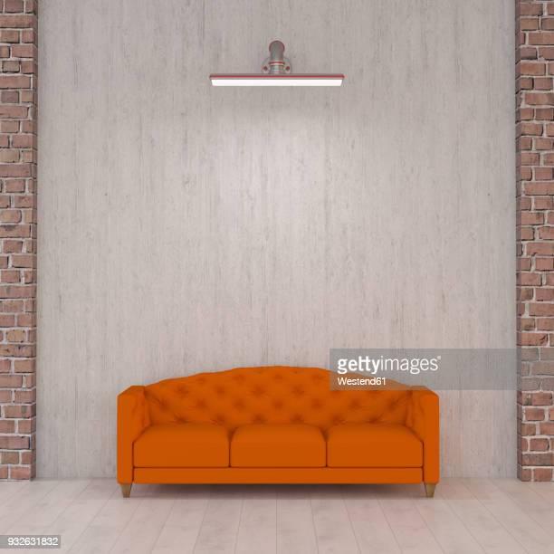 ilustrações de stock, clip art, desenhos animados e ícones de orange couch under wall lamp, 3d rendering - nicho