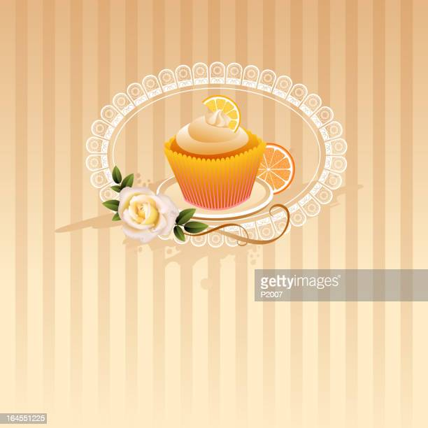 orange cupcake background - dessert topping stock illustrations, clip art, cartoons, & icons