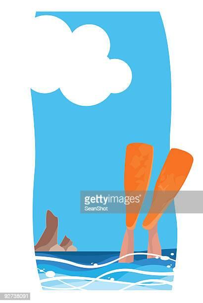 orange flippers diver - diving flipper stock illustrations, clip art, cartoons, & icons